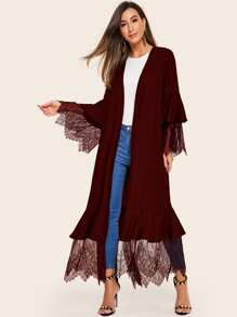 Eyelash Lace Bell Sleeve Abaya