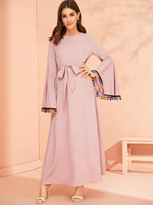 Pompom Trim Bell Sleeve Belted Maxi Dress