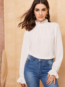 Frill Neck and Cuff Keyhole Back Top