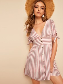 Knot Cuff Wide Waistband Button Front Striped Dress