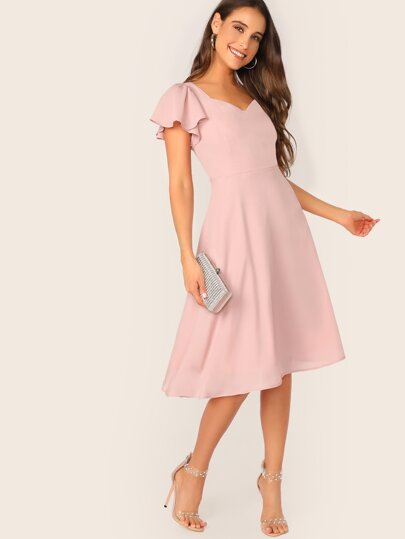 Flutter Sleeve Sweetheart Neck Fit & Flare Dress