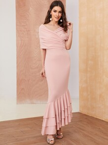 Surplice Wrap Layered Flounce Hem Fishtail Dress