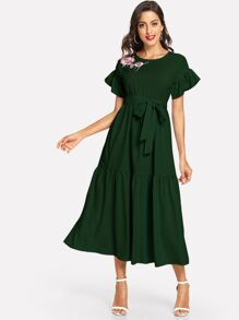 Ruffle Cuff Embroidered Flounce Hem Belted Dress