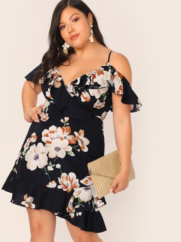 6eadf545 Plus Cold Shoulder Ruffle Trim Wrap Floral Print Dress | SHEIN UK