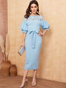 Guipure Lace Yoke Belted Pencil Dress