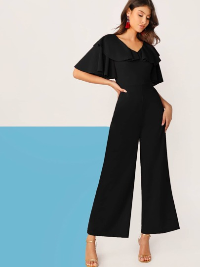 8960a2cab Ruffle Neck Bell Sleeve Palazzo Jumpsuit