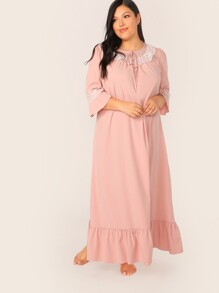 Plus Tie Neck Lace Trim Flounce Hem Maxi Nightdress