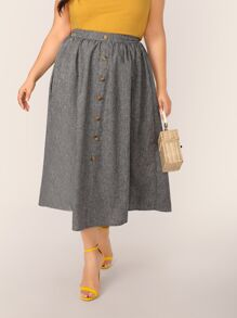 Plus Button Front Skirt