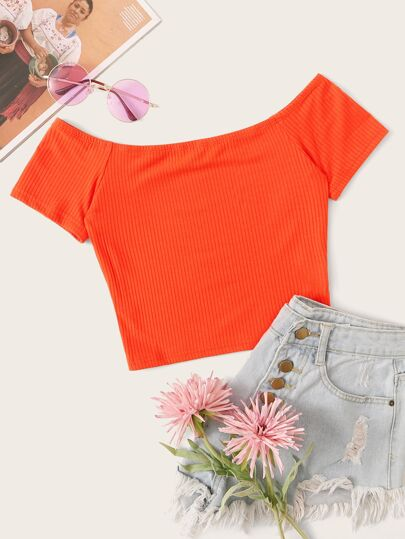 Neon Orange Off Shoulder Rib-knit Crop Top