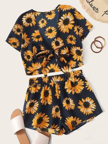 Sunflower Print Knot Hem Top and Shorts Set