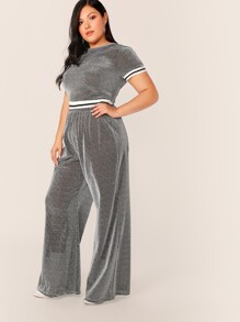 Plus Contrast Striped Glitter Top & Wide Leg Pants Set