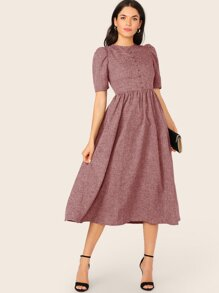 Covered Button Front Puff Sleeve Flare Dress