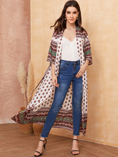 Open Front Tribal Print Kimono With Belt