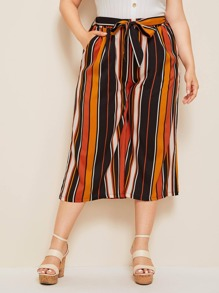 Plus Self Tie Wide Leg Stripe Pants