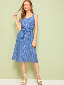 Button Front Belted Cami Dress