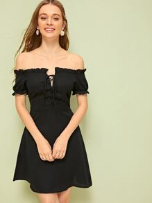 Off The Shoulder Frill Trim Lace Up Dress