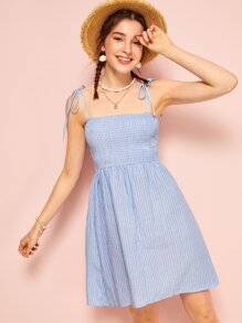 Striped Shirred Knot Cami Dress