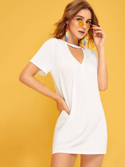 42956756e Solid Choker Neck T-shirt Dress