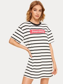 Letter Print Striped T-shirt Dress