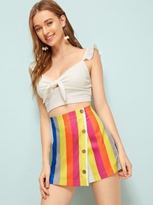 Colorful Striped Oblique Button Culotte Shorts