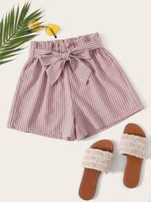 Striped Paper Bag Belted Shorts