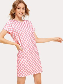 Checkered Print T-shirt Dress