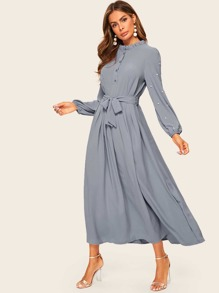 Pearls Trim Tie Waist Shirt Dress