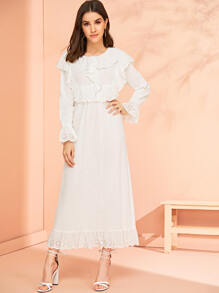 Eyelet Embroidered Scallop Hem Longline Dress