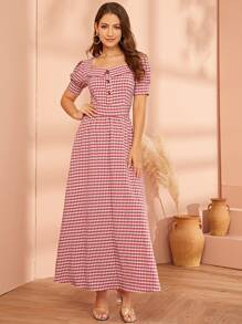 Gingham Button Front Puff Sleeve Dress