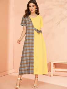 Plaid Contrast Knot Side Dress