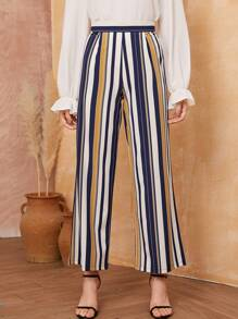 Colorful Striped Wide Leg Pants