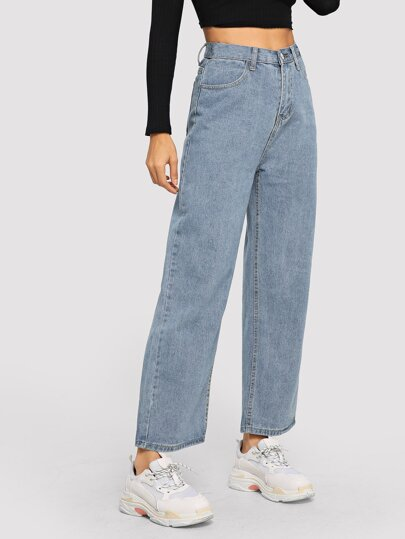 Light Wash Pocket Detail Wide Leg Jeans