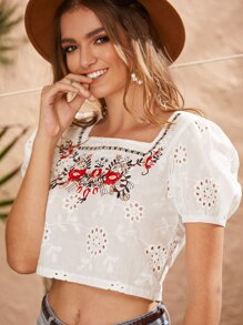 Floral Eyelet Embroidered Crop Blouse