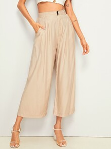 High Rise Wide Leg Solid Pants