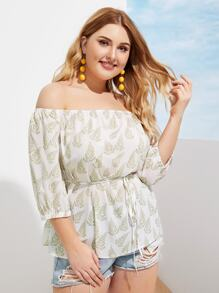 Plus Off-shoulder Allover Leaf Print Belted Blouse