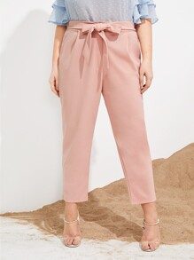 Plus Tie Front Straight Leg Pants
