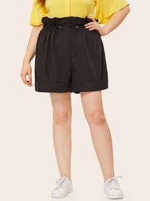 Plus Frill Waist Roll Hem Drawstring Shorts