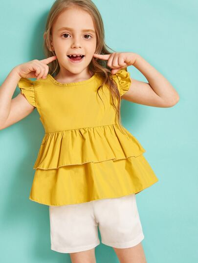 227002df914b Toddler Girls Solid Keyhole Back Layered Ruffle Top