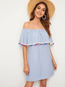 Pompom Trim Ruffle Foldover Bardot Dress