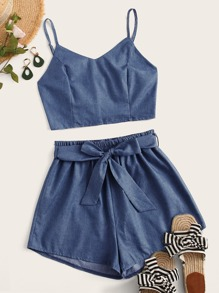 Shirred Cami Top With Belted Shorts