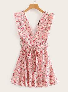 Ditsy Floral Ruffle Trim Belted Dress
