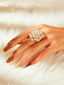 Faux Pearl Decor Ring 1pc