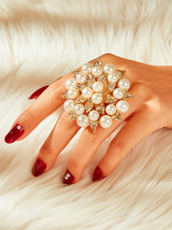 ce115b3710 Faux Pearl & Rhinestone Decor Flower Shaped Ring 1pc | SHEIN UK