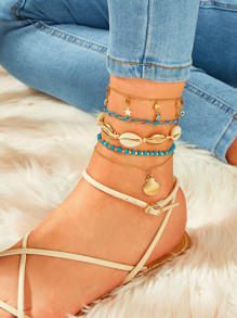 Eye & Shell Charm Chain Anklet 5pcs
