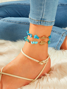Shell & Turquoise Decor Anklet 2pcs