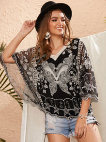 Contrast Lace Embroidery Batwing Sleeve Blouse