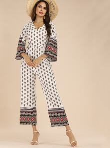 Tribal Print Backless Knot Jumpsuit