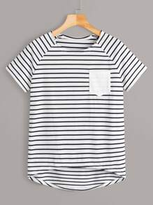 Striped Raglan Sleeve High Low Tee