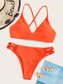 Criss Cross Top With Cutout Bikini Set