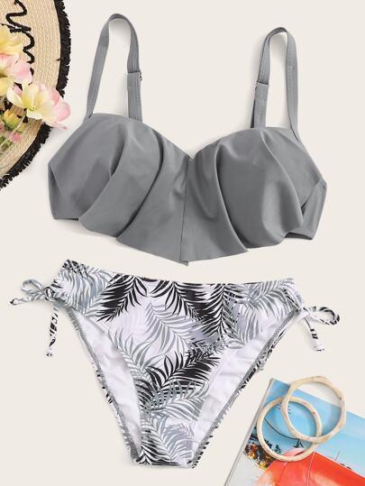 2468602bb1ee61 Bikini Set mit Zipfelsaum und tropischem Muster